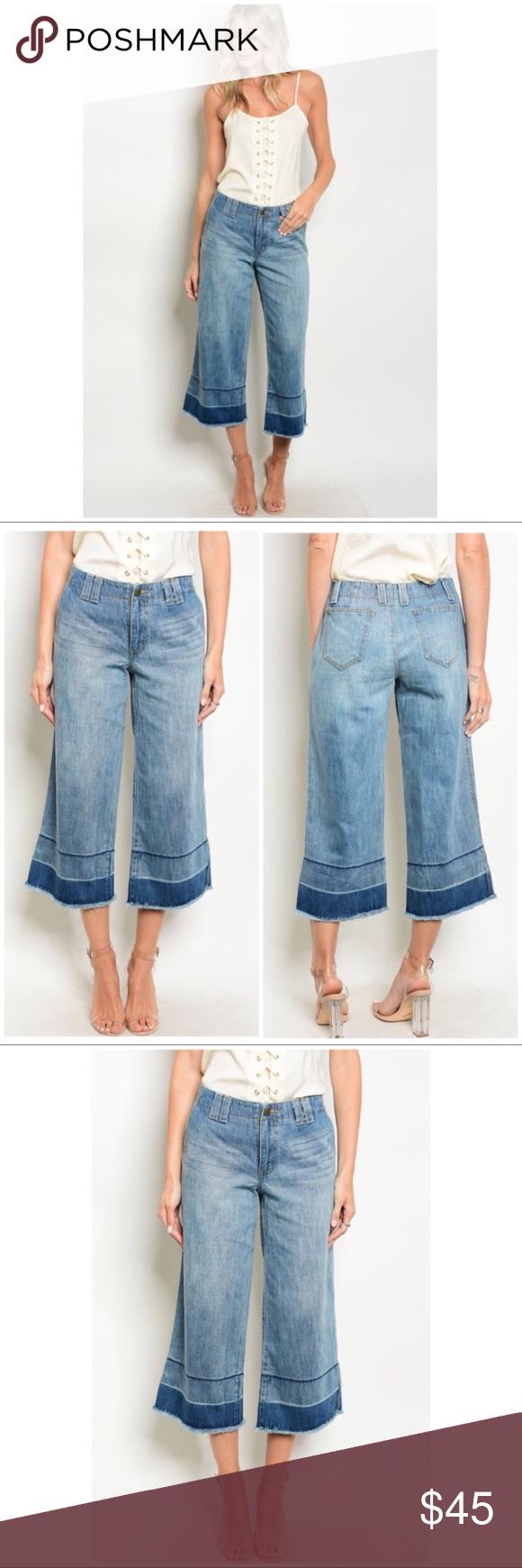 Blue Denim Distressed Wide Leg Capri Pants NWT Blue denim wide leg distressed je…