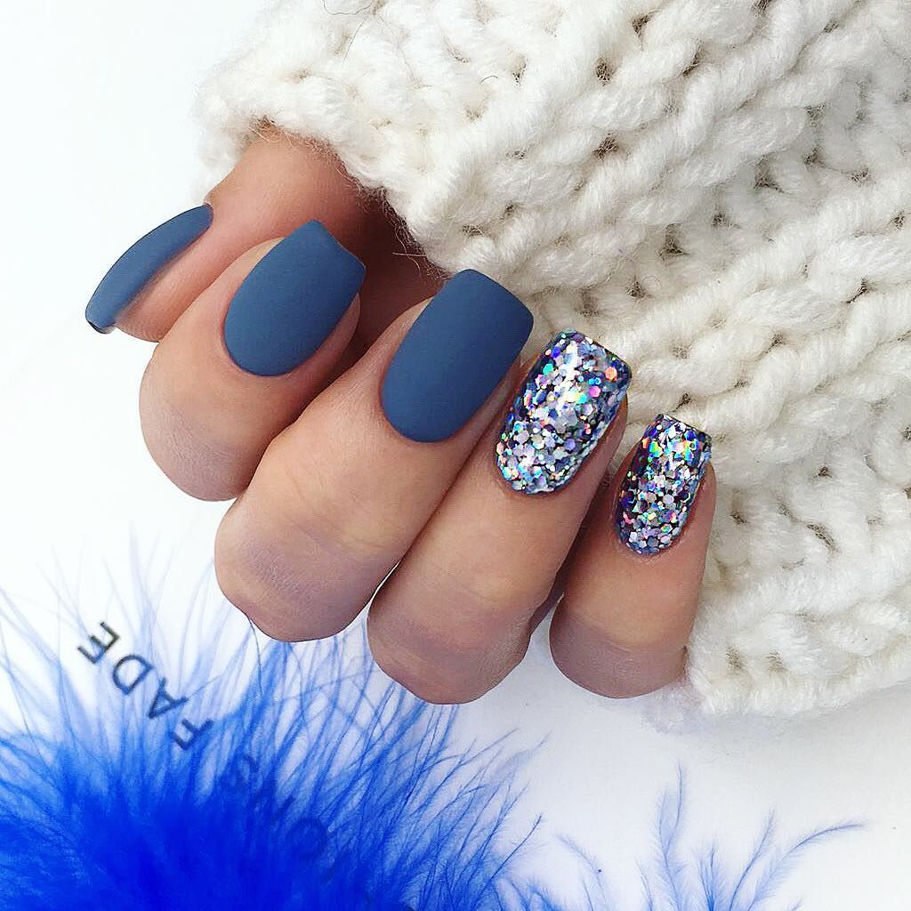 Blue Sliver Dip Powder Matte Square Shaped Nails Trends Fall Winter