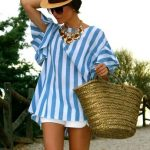 Blue White Striped High Low Blouse EmmaCloth-Women Fast Fashion Online
