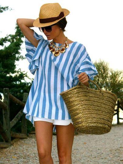 Blue White Striped High Low Blouse EmmaCloth-Women Fast Fashion Online