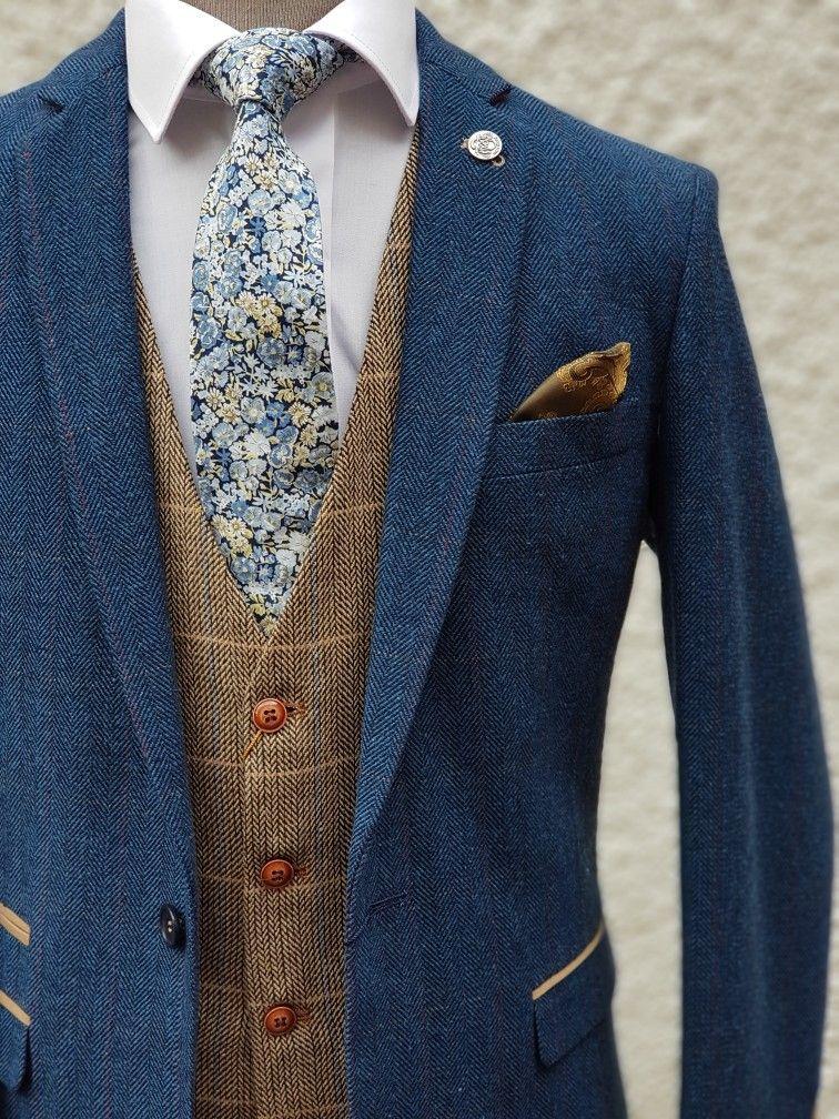 Blue brown men's tweed suits