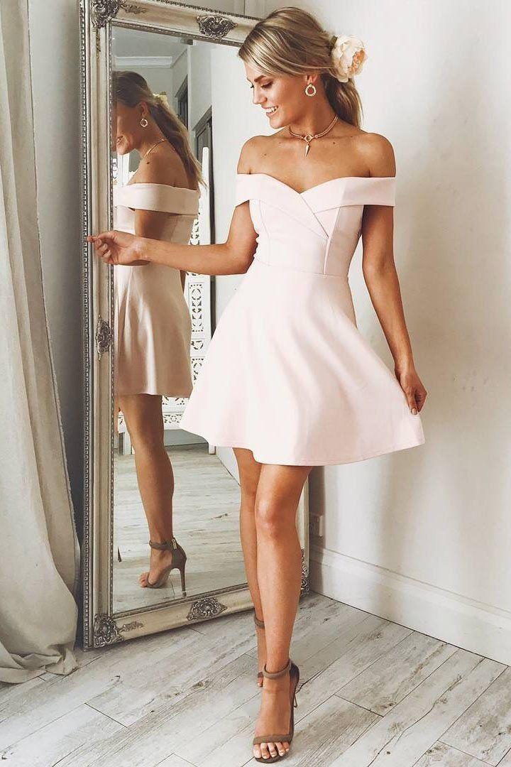 Blush Pink Off Shoulder Short Prom Dresses, Short Pink Formal Graduation Evening Dresses
