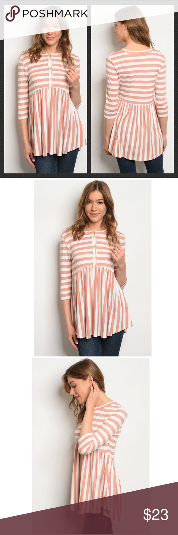 Blush Pink White Striped Top This top is made of a polyester/spandex blend, and …