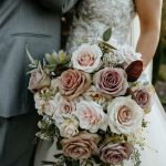 Blush and Muted Purple Bouquet with Succulent Accents