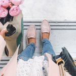 Blush loafers, distressed jeans, lace tee and pink peonies for a fresh spring ou...