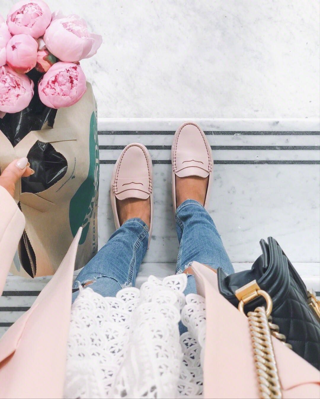 Blush loafers, distressed jeans, lace tee and pink peonies for a fresh spring ou…