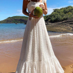Bohemian Lace Sling Pure Colour Maxi Dresses