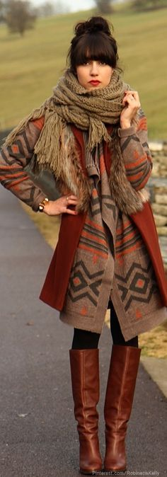 Bohemian Winter Outfit                                                          …