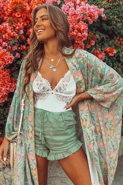 Boho Chic Floral Print Kimono Cardigan