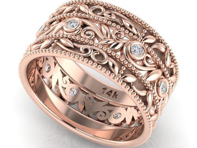 Boho Rose gold diamond eternity engagement ring, bohemian wedding ring, rustic ring, nature leaf ring, boho wedding ring, cigar scroll ring