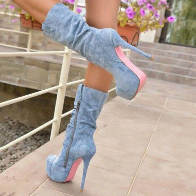Boots Ankle Stiletto Heel Round Toe Plain