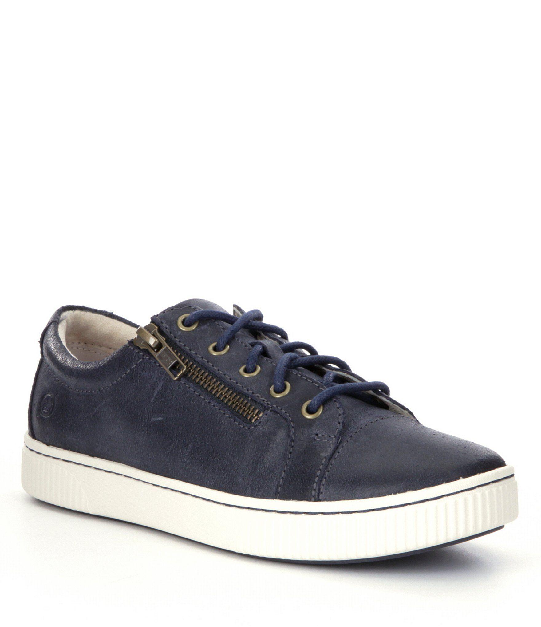 Born Tamara Casual Zip Leather Sneakers – Navy 6.5M
