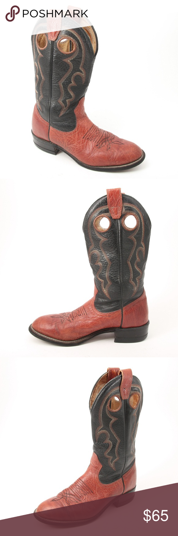 Boulet Leather Cowboy Western Boots Women's Size 7 These leather Boulet boots ar…
