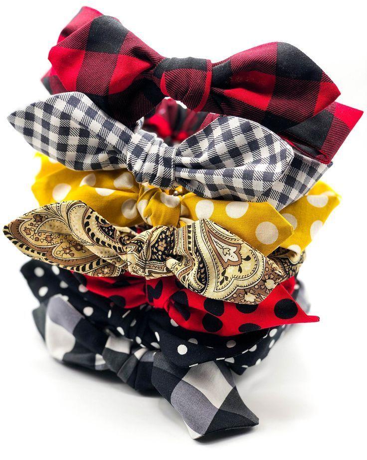 Boutique Bow Headbands, Child and Adult Buffalo Check Women's Bow Headband, Red Black Buffalo Plaid Top Knot Headband, Adjustable Headband