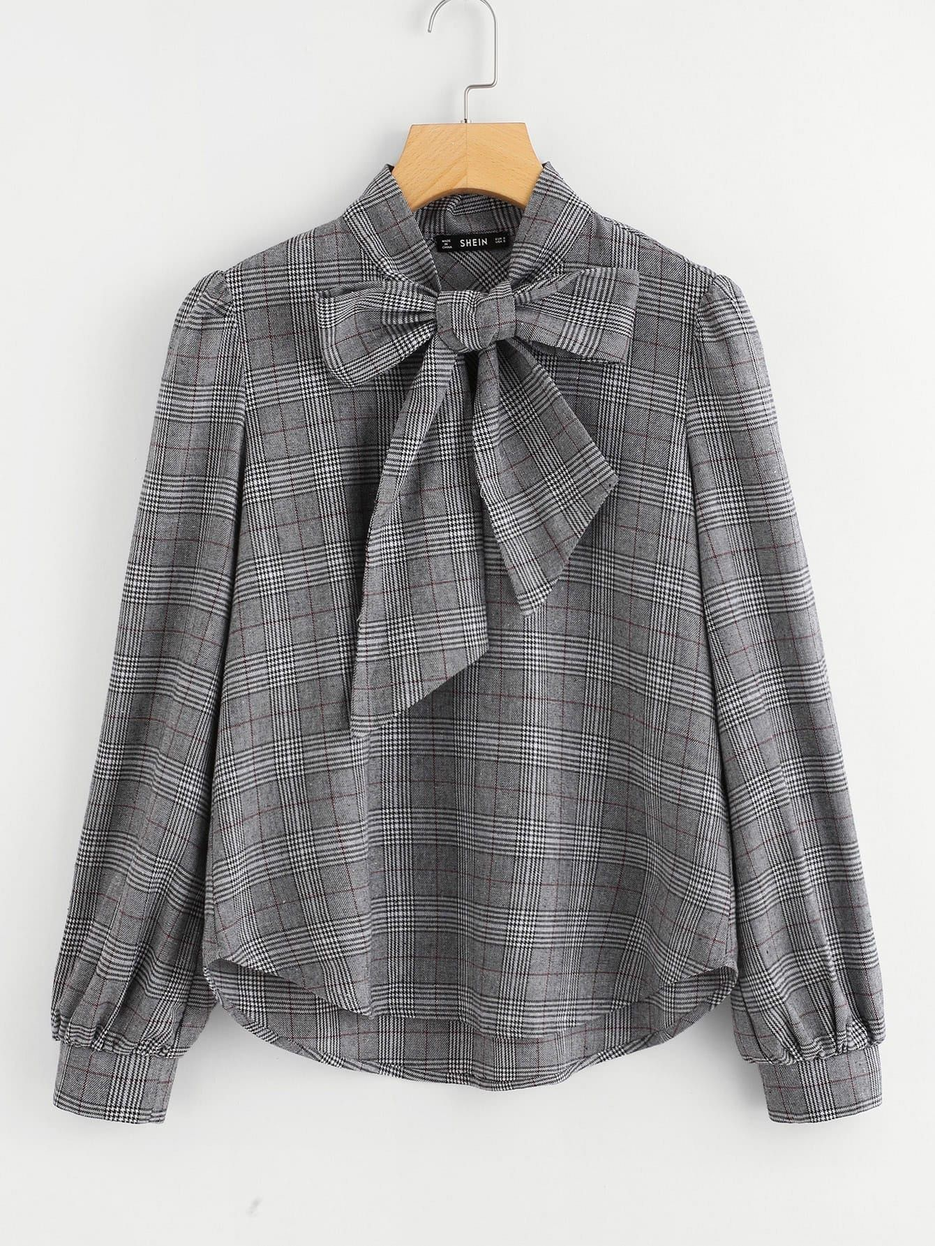 Bow Tie Neck Curved Hem Glen Plaid Top