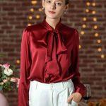 Bow-tie Neck Silk Blouse