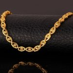 Bracelets, Link, 18k Stamp Gold Bracelet Bead-set Link Chain Bracelet For Men/Wo...
