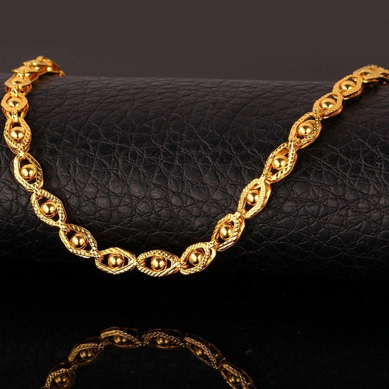 Bracelets, Link, 18k Stamp Gold Bracelet Bead-set Link Chain Bracelet For Men/Wo…