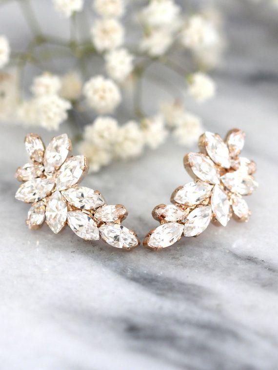 Braut Rose Gold Ohrringe, Swarovski Kristall Klettern Ohrringe, Braut Cluster Ohrstecker, Swarovski Braut Ohrringe, weiße Kristall Ohrringe