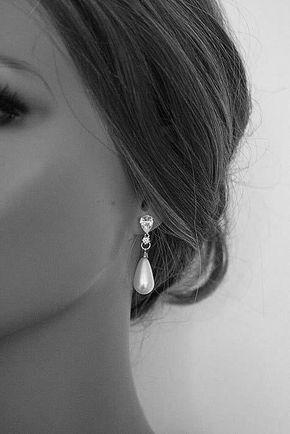 Bridal Pearl Drop Earrings Royal Wedding Sterling Silver Best Pearl Drop Earrings Jewelry Unique Gifts For Women