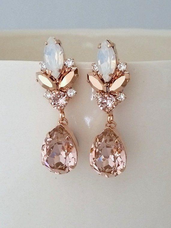 Bridal earrings,Blush earrings,White opal earrings,Rose gold earrings,chandelier earrings,Morganite