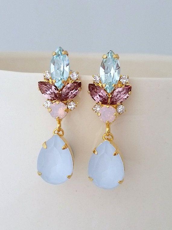 Bridal earrings,Light blue earrings,Blue opal chandelier earrings,Blue pink earrings,Wedding earrings,Bridal earrings,Swarovski earrings