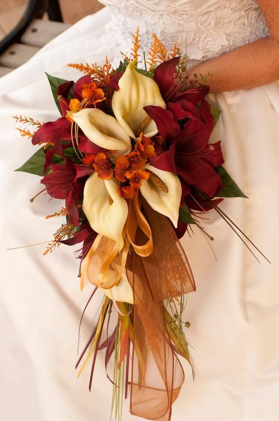 Bride Fall Wedding Bridesmaid Bouquet and Boutonnière 2 Piece