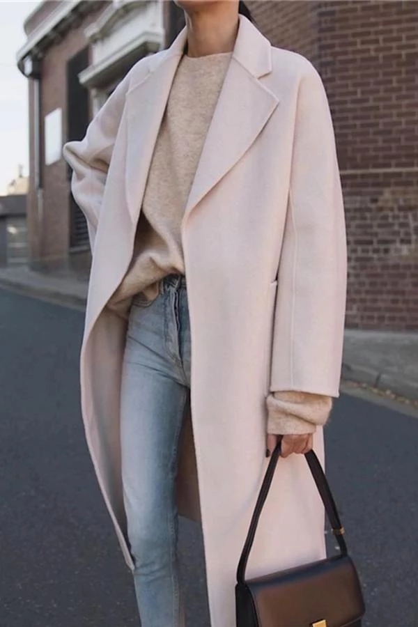 British Style Fashion Large Lapel Long-Sleeved Solid Color Coats