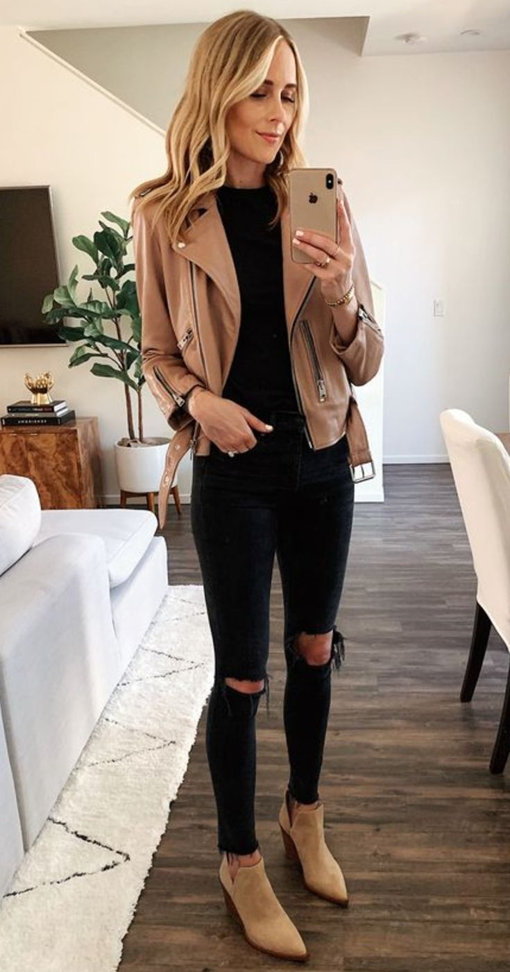 Brown Ankle Boots With Black Jeans And Brown Leather Jacket