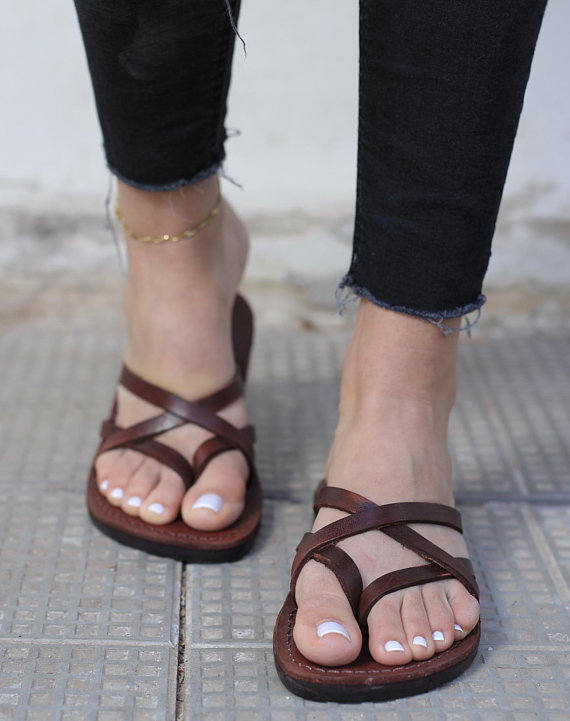 Brown Genuine Leather Sandals for Women, Ladies Womens Shoes, Summer Sandals, Flip-Flops, Flats, Slides, Thongs, Comfort Walking, CRISSCROSS