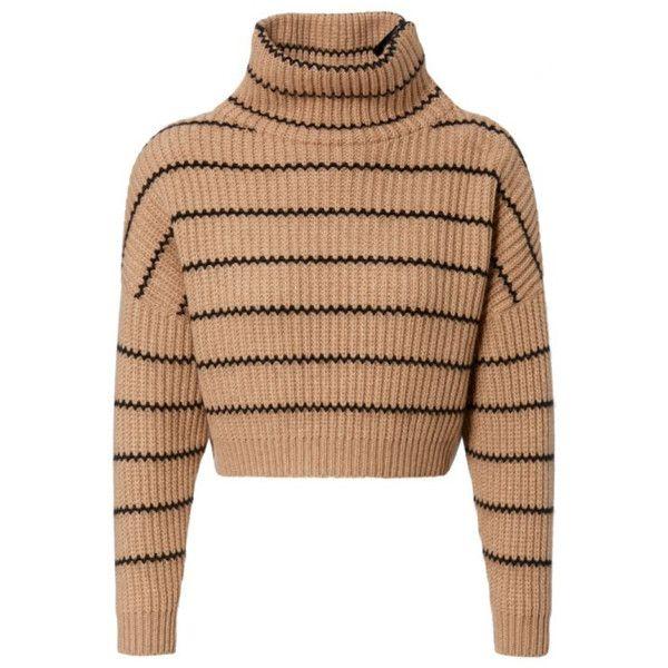 Brunello Cucinelli Damen Cropped Cashmere-Pullover Camel/Schwarz – bei… (146,7…