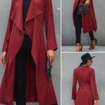 Burgundy Large Lapel Collar Belt Design Trench Coat HOT SALES 2019 beautiful coa...