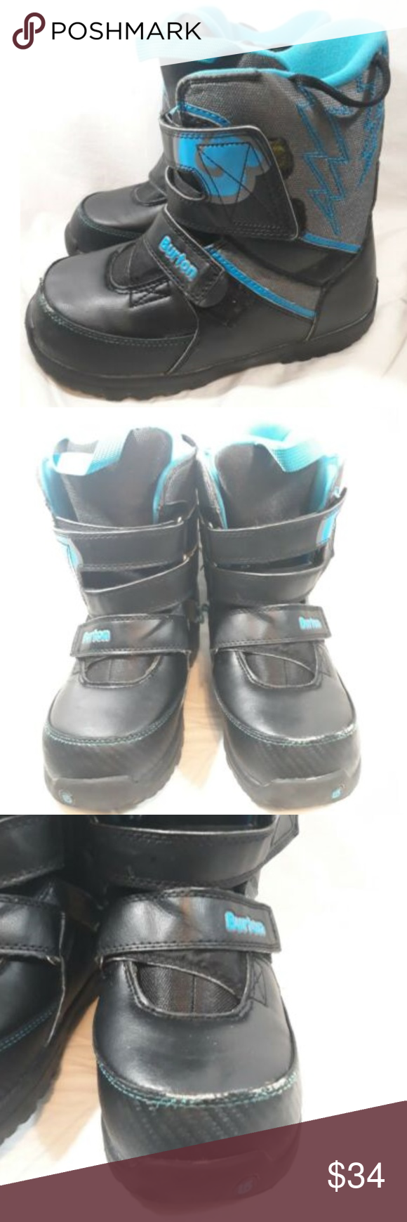 Burton Snowboarding Boots Black Blue Grom Youth 5 Burton Youth Size 5 Grom Boa S…