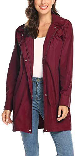 Buy Avoogue Women's Raincoat Lightweight Waterproof Rain Jacket Hoodie Active Rain Coat online