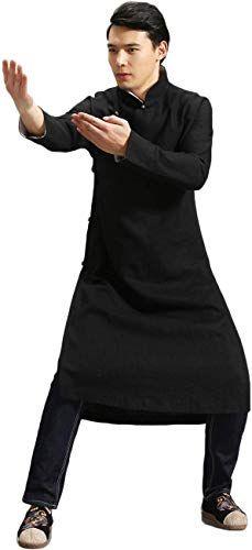 Buy LZJN Men's Trench Coat Spring Autumn Long Jacket Kung Fu Linen Overcoat Vintage Chinese Style online
