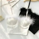 Buy Lucuna Spaghetti Strap Furry-Trim Cropped Bustier Top at YesStyle.com! Quali...