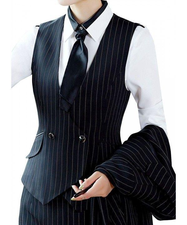 Buy Women V-Neck Lined Slim Fit Waistcoat Dreesy Suit Vest – Style 1_black Pinst…