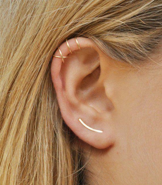 CHRISTMAS SALE Modern Minimalist Set of 3 – Ear Climber, Smooth Sweeps Ear Cuff, Double Ear Cuff, Earring Climbers 15mm, Criss Cross Ear Cuf