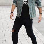 Calças Skinny Jeans Preta Masculina Casual Estilo Negro