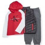 Calvin Klein Little Boys 2T-7 Logo Hoodie, Quilted Vest, & Jogger Set | Dillard's