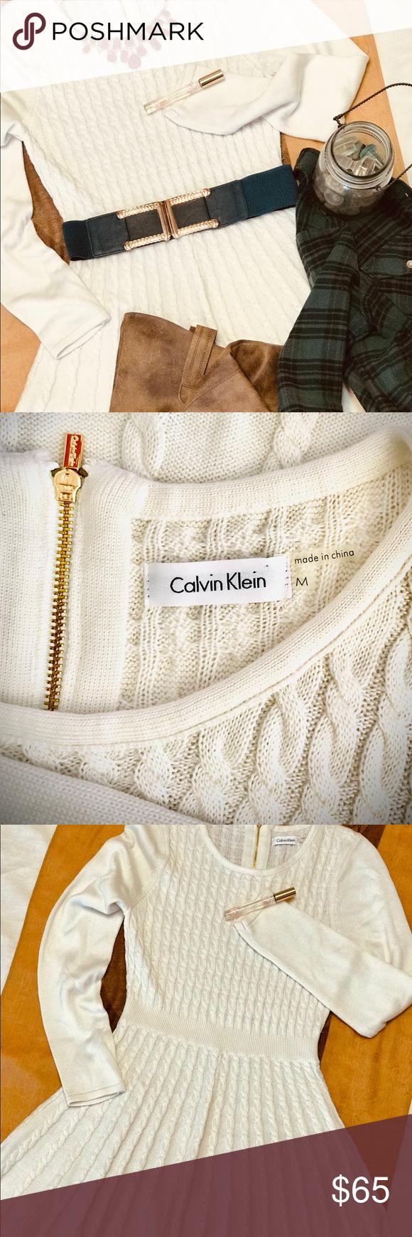 Calvin Klein Long Sleeve Skater Dress CK Natural Long Sleeve Skater Sweater Dres…