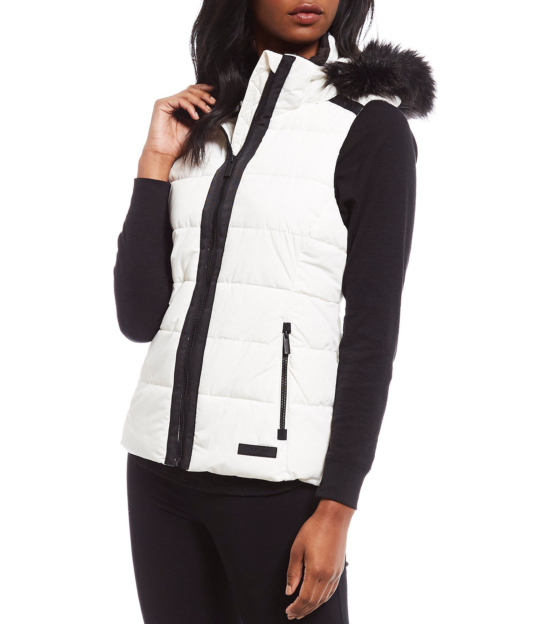 Calvin Klein Performance Removable Faux Fur Hood Quilted Vest | Dillard's