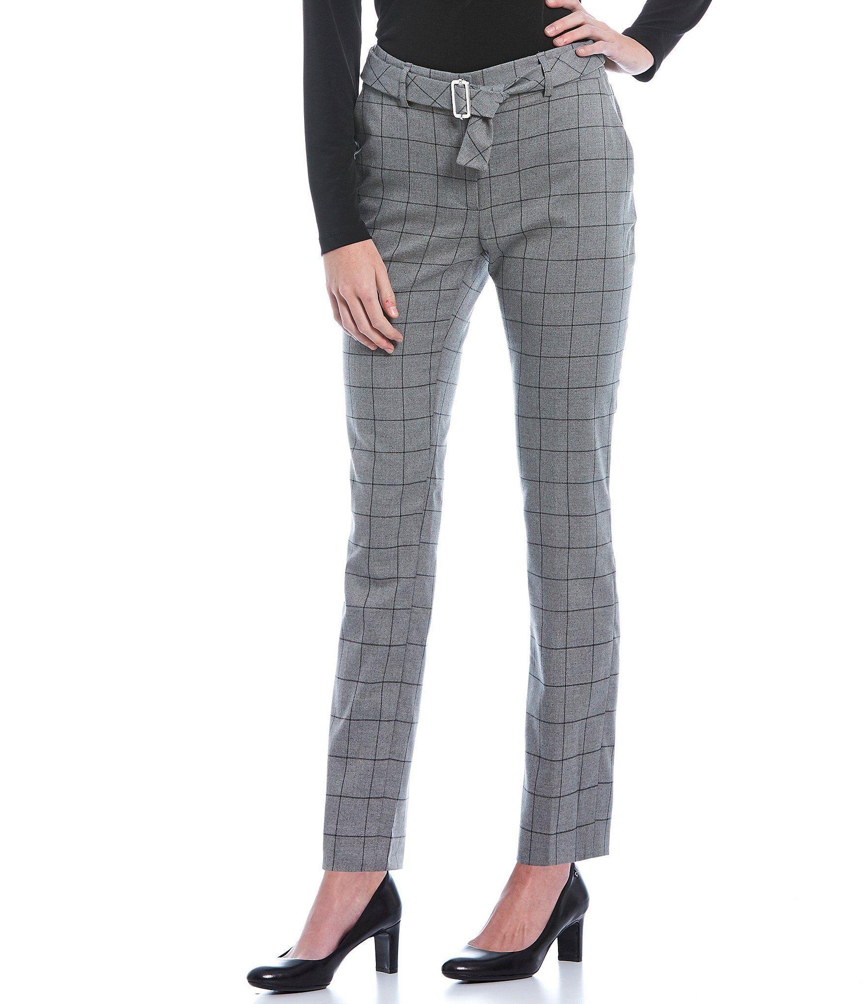 Calvin Klein Windowpane Plaid Belted Ankle Pant – Tin/Black 2