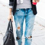 Can't go wrong with a blazer, scarf & striped shirt combo. Not so keen on the fl...