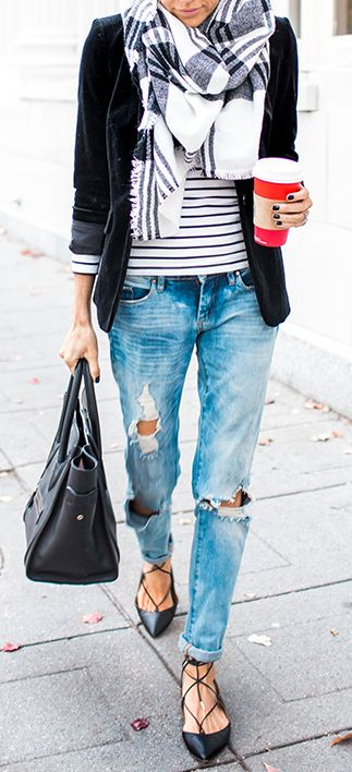 Can't go wrong with a blazer, scarf & striped shirt combo. Not so keen on the fl…