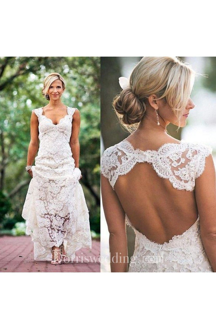 Cap Sleeves V Neck Allover Lace Long Dress With Back Keyhole