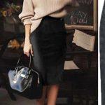 Carmen Faux Suede Midi Pencil Skirt - Camel, Beige or Black