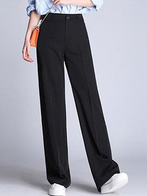Casual Black Pocket Wide-Leg Pants