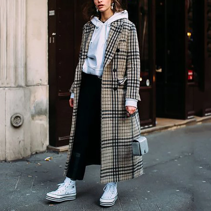 Casual Lapel Long Sleeve Plaid Overcoat