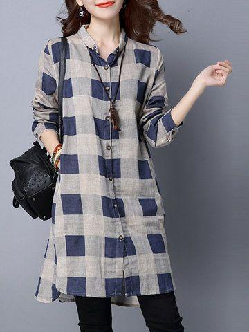 Casual Plaid Print Irregular Long Sleeve Lapel Women Shirts